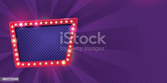 Retro neon Lamps billboard on dark purple background. Billboard frame with bulb lamps. Vector illustration