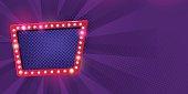 Retro neon Lamps billboard on dark purple background.