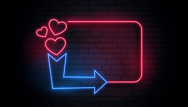 retro neon light heart frame with arrow and text space - date night stock illustrations