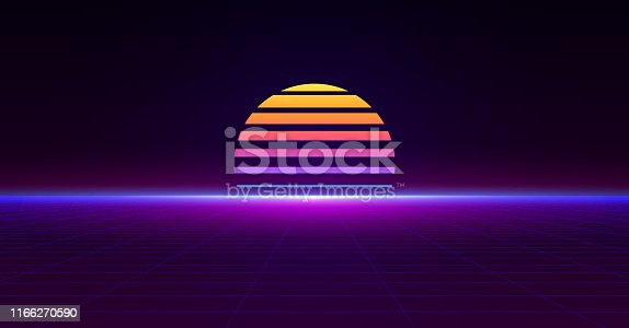 Retro neon poster future style 80s and 90s. Abstract futuristic background. Vector pattern perspective grid texture