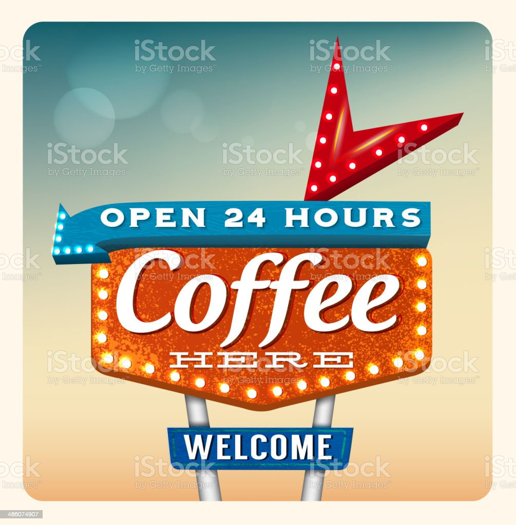 Retro Neon Sign Coffee vector art illustration