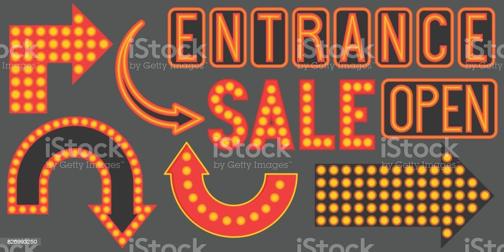 Retro Neon Sign Such As Arrow Stock Illustration - Download Image
