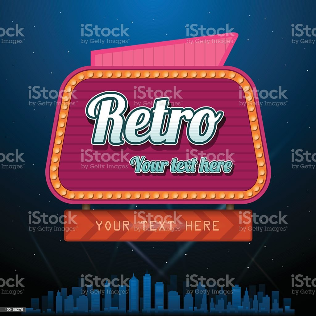 Retro neon sign with customizable text royalty-free stock vector art