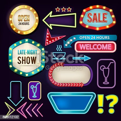 Retro neon signs. Billboards at highway. Empty frames and banners with backlight. Neon billboard vintage retro banner, vector illustration