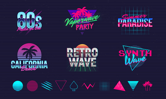 6 Retro neon  templates and 10 trendy elements to create your own design. Print for t-shirt, banner, poster, cover, badge and label. Retro 80's typography design. Vector illustration