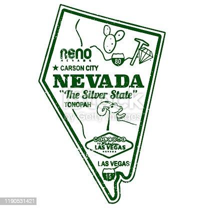 istock Retro Nevada Travel Stamp Map 1190531421