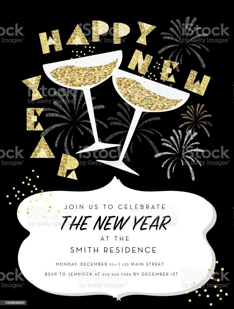 Ilustración De Retro Año Nuevo Partido La Tarjeta De Felicitación Diseño Invitación Con Copas De Champagne Y Más Vectores Libres De Derechos De 2019