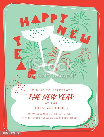 Vector illustration of a Retro New Years party greeting card design invitation with champagne glasses. Easy to edit with layers. Retro themed colors.