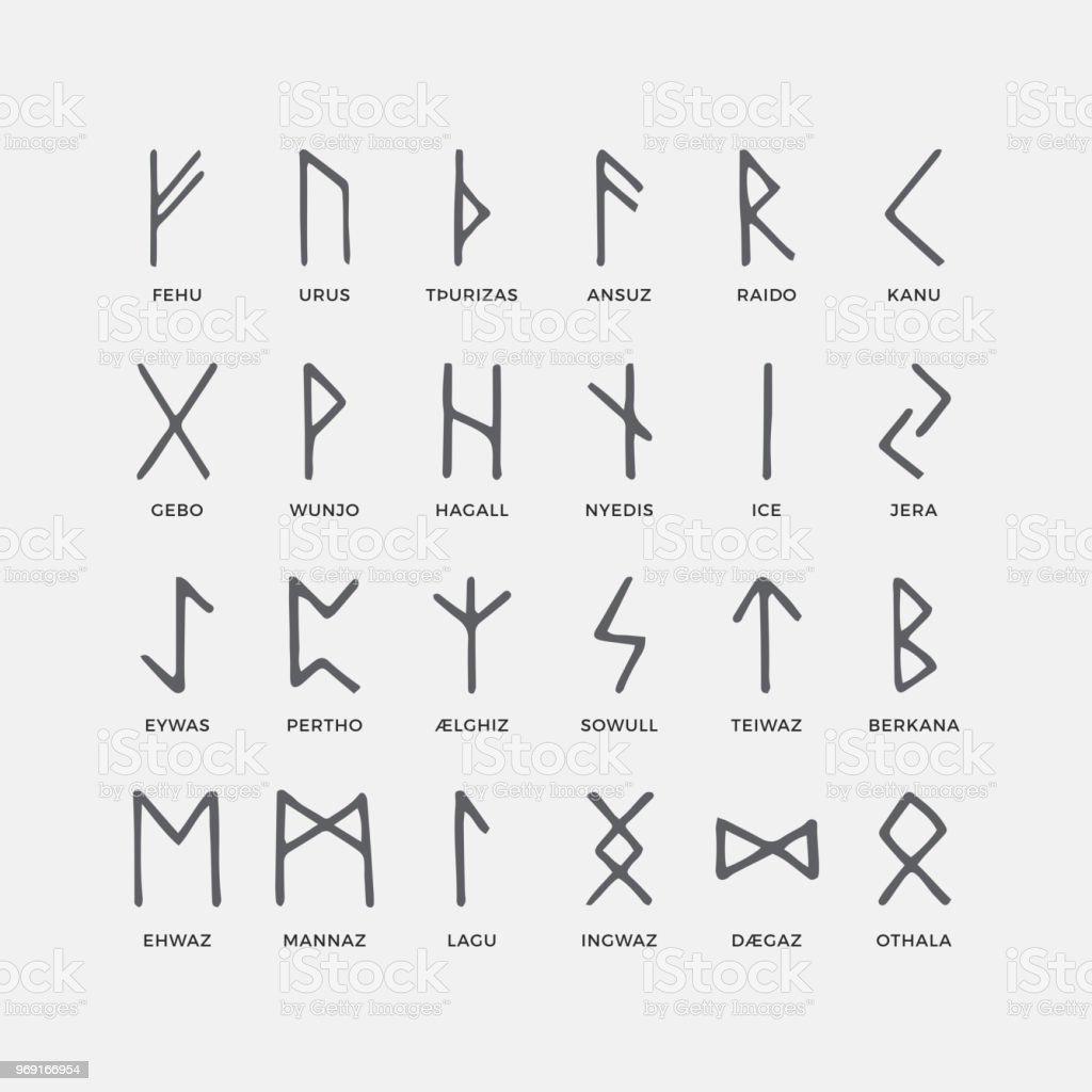 Retro Norse Scandinavian Runes Sketch Celtic Ancient Letters Old
