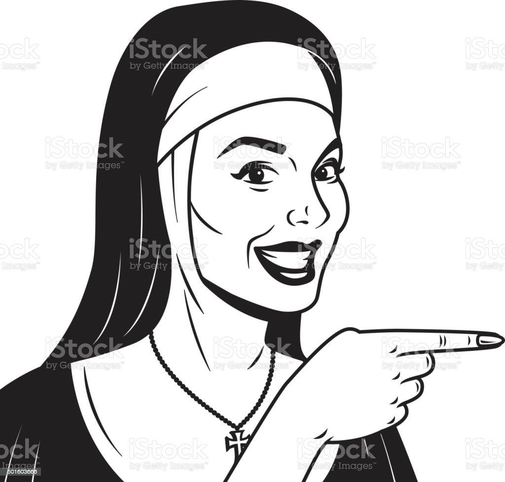 Retro monja apuntando su dedo - ilustración de arte vectorial