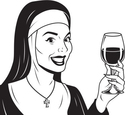 Retro Nun With Wine