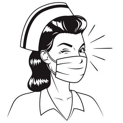 A retro styled woman wearing a protective mask. Black and white line art. File is built in CMYK for optimal printing and can easily be converted to RGB.