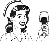 An vintage styled nurse holding a glass of red wine.