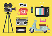 Retro objects flat style on a yellow background