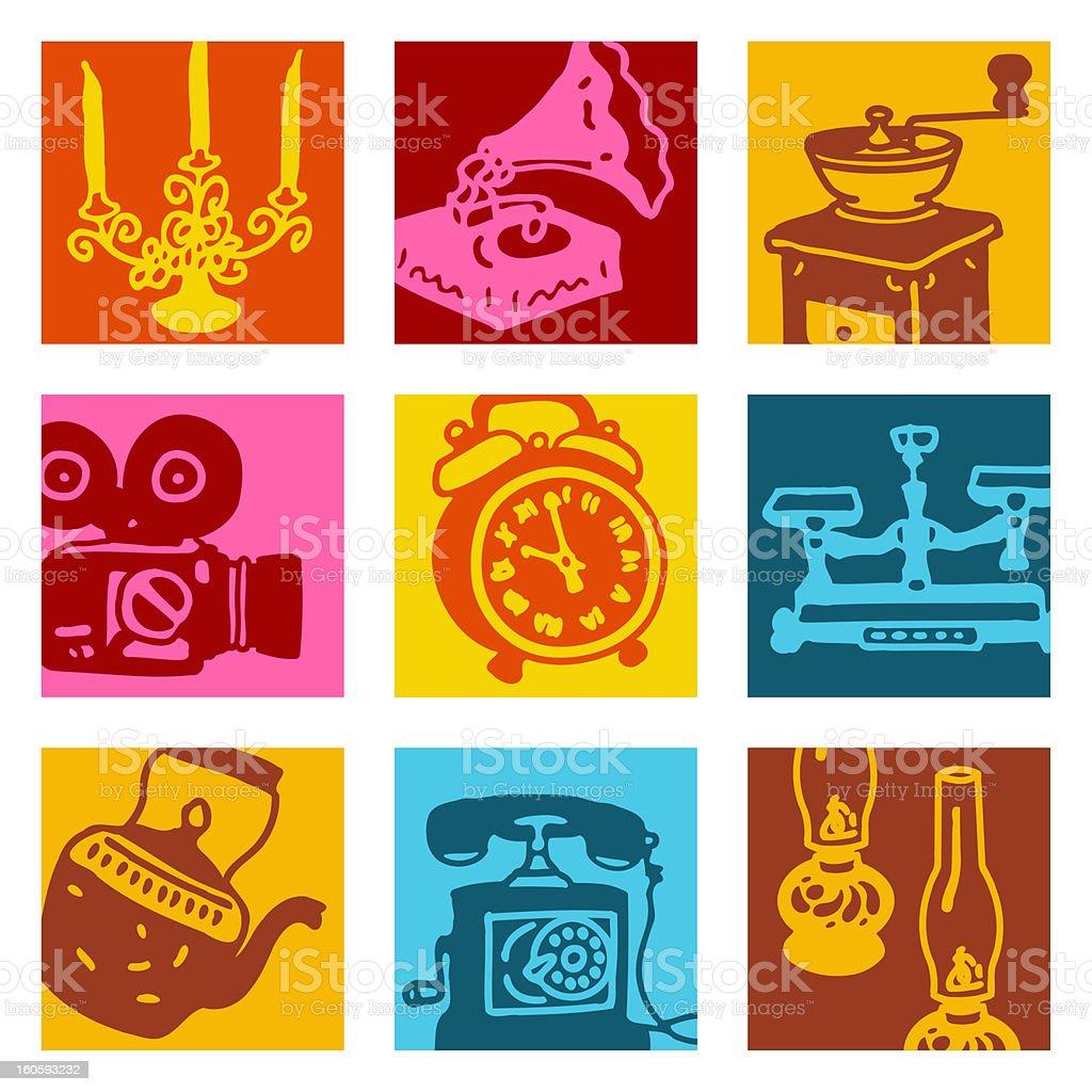 Objets ensemble rétro pop art - Illustration vectorielle