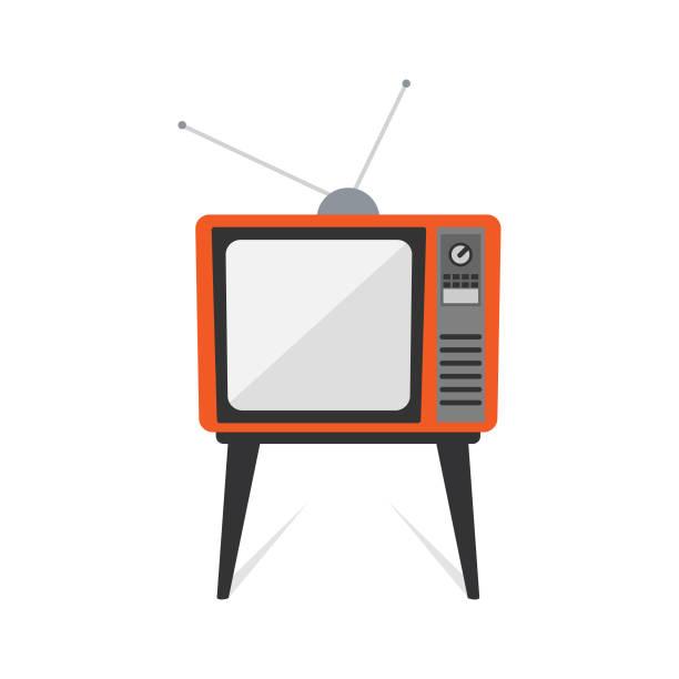 retro old vintage television flat design - телевизионная индустрия stock illustrations