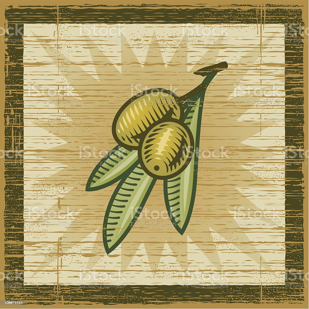 Retro olive branch royalty-free stock vector art