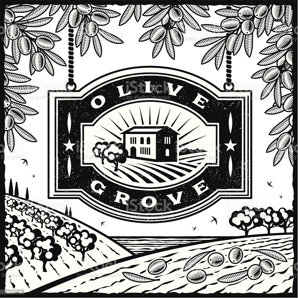 Retro Olive Grove black and white royalty-free stock vector art