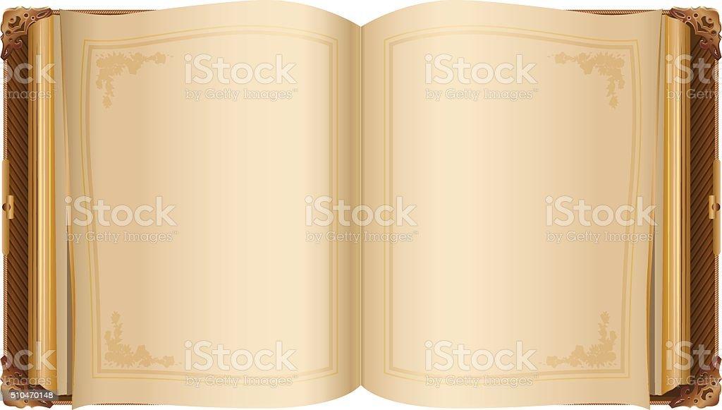 Retro offenen Buch mit leeren Seiten – Vektorgrafik