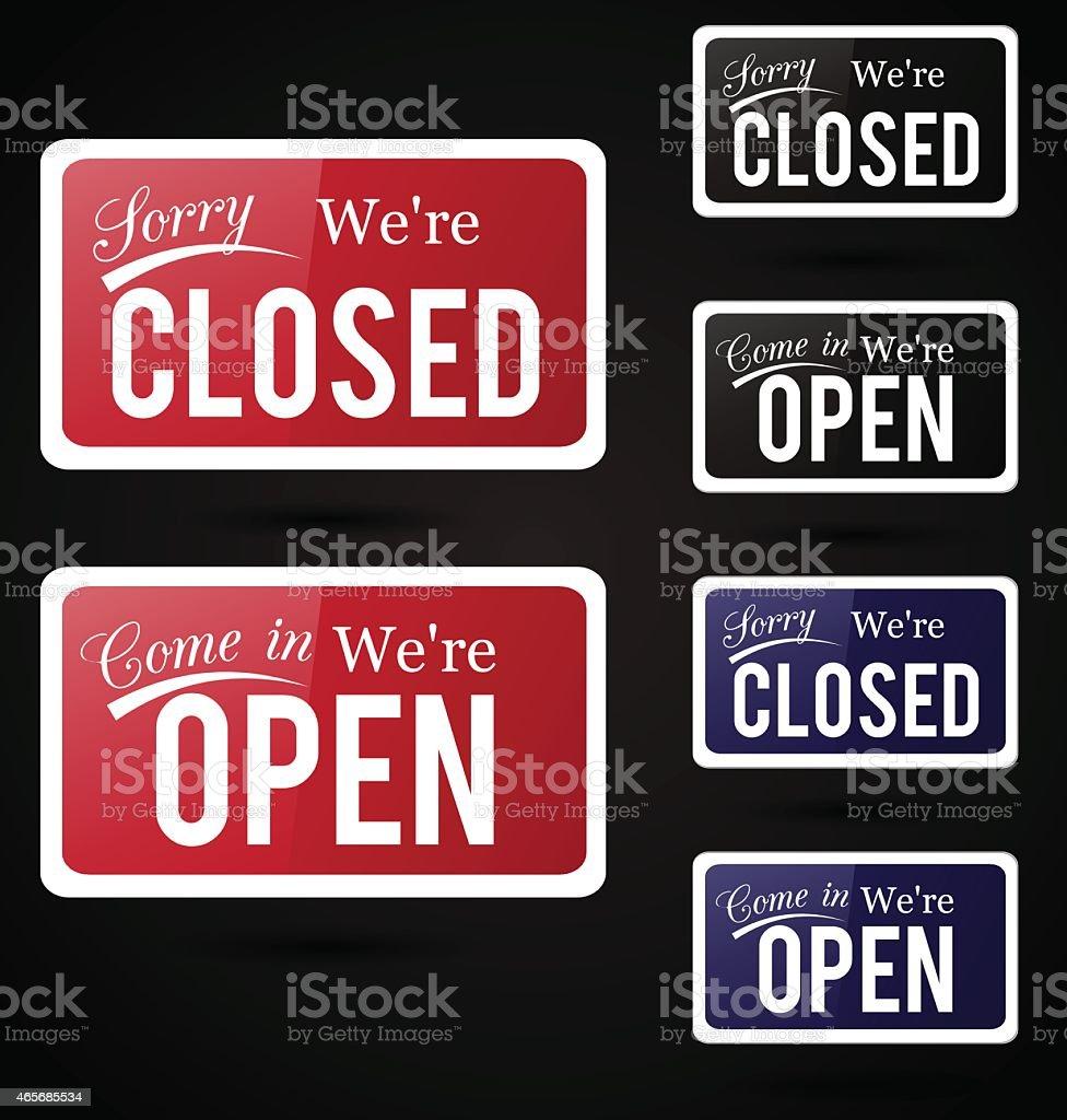 Retro open - close signs. vector art illustration