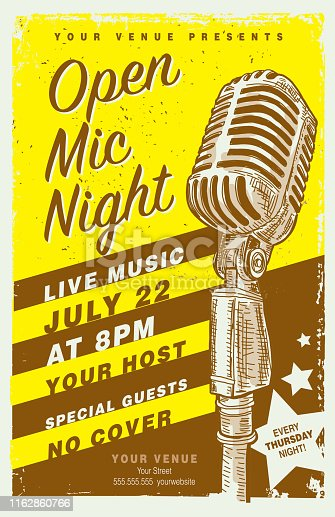 Vector illustration of a Retro Open Mic Night Poster design template with microphone. Includes lot's of textures and sample text design. Easy to edit with layers. EPS 10,