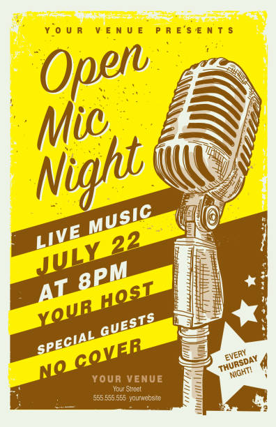 Retro Open Mic Night Poster design template with vintage microphone vector art illustration
