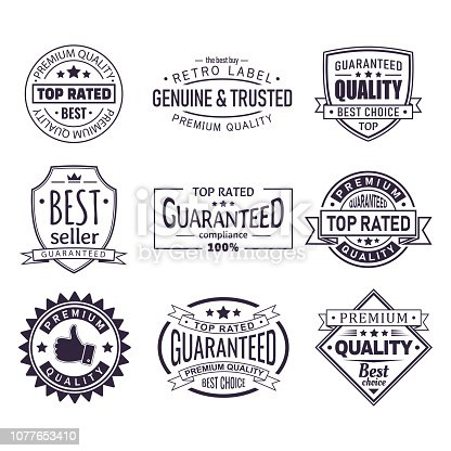 Set of isolated retro brand logo. Vintage certificate stamp for best seller, sign or tag with star, crown and ribbon, premium quality assurance for product, classic company badge. Trade and sale theme