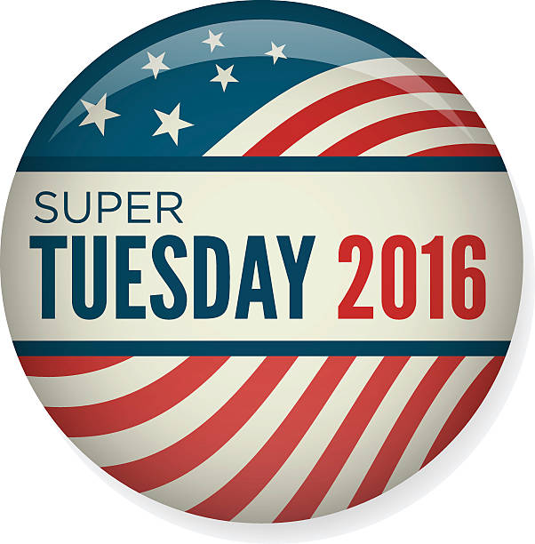 Retro or Vintage Style Super Tuesday Campaign Election Pin Button Retro or Vintage Style Vote or Voting Campaign Election Pin Button or Badge.  Use this pin on infographics, blog headers, flyers, or web pages. presidential candidate stock illustrations