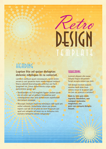Retro orange and peach presentation template with sample text layout