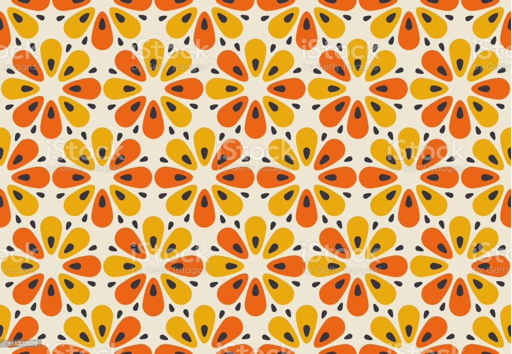 Motivo de flor cor de laranja e amarelo retrô dos anos 60. Padrão sem emenda floral geométrico.  ilustração vetorial - ilustração de arte em vetor
