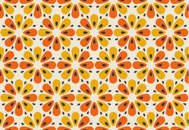 retro orange and yellow color 60s flower motif. geometric floral seamless pattern.  vector illustration - 1960s style stock illustrations, clip art, cartoons, & icons