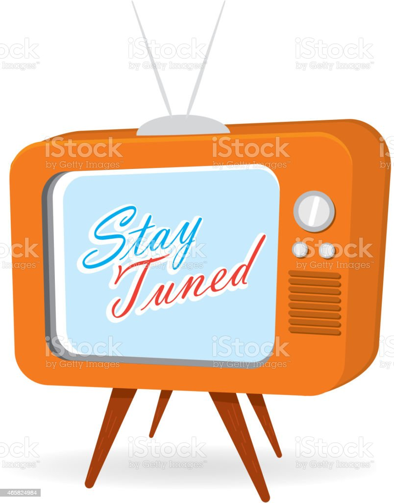 Retro orange tv with screen with stay tuned message vector art illustration