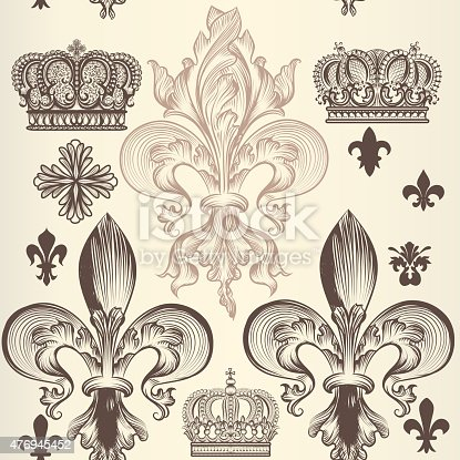 istock Retro ornamental seamless wallpaper pattern 476945452