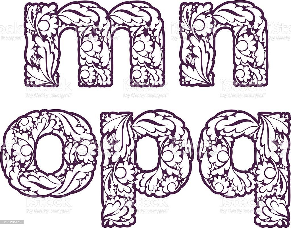 Retro Ornamental Typeface Beautiful Flowerpatterned Letters Stock