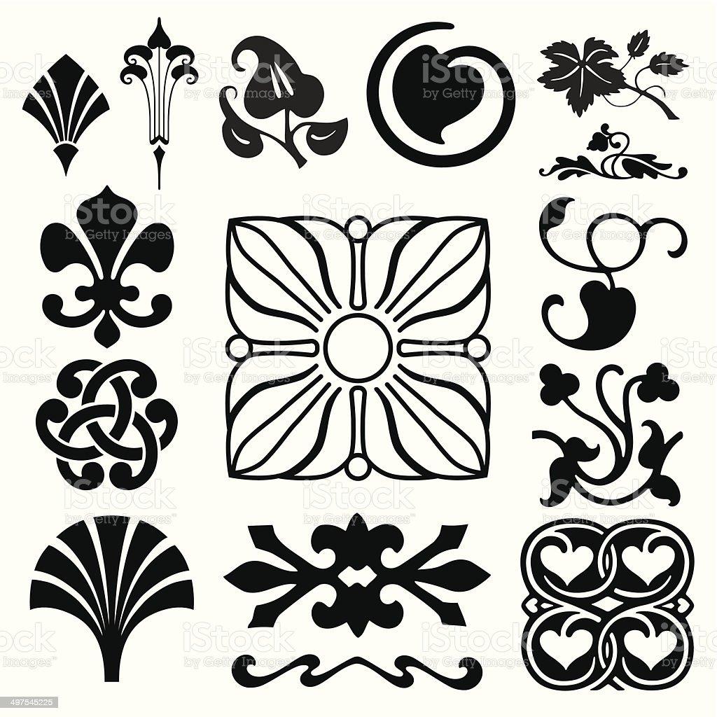 Retro ornaments collection vector art illustration