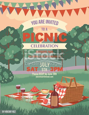 Retro Outdoors Cartoon. Picnic Invitation template.