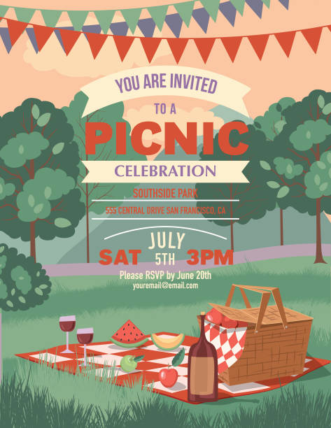Retro Outdoors Picnic Cartoon With Nature and Trees Retro Outdoors Cartoon. Picnic Invitation template. picnic stock illustrations