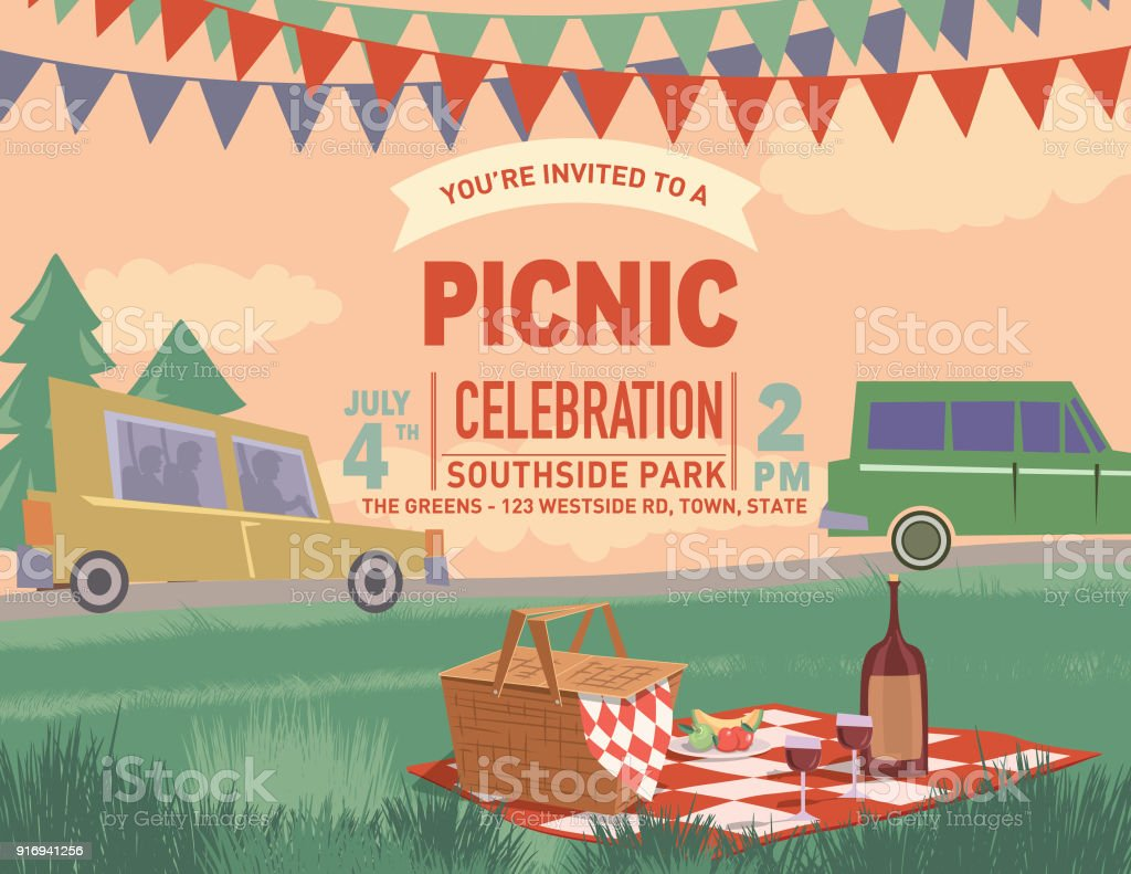 Retro Outdoors Picnic Cartoon With Nature and Trees vector art illustration