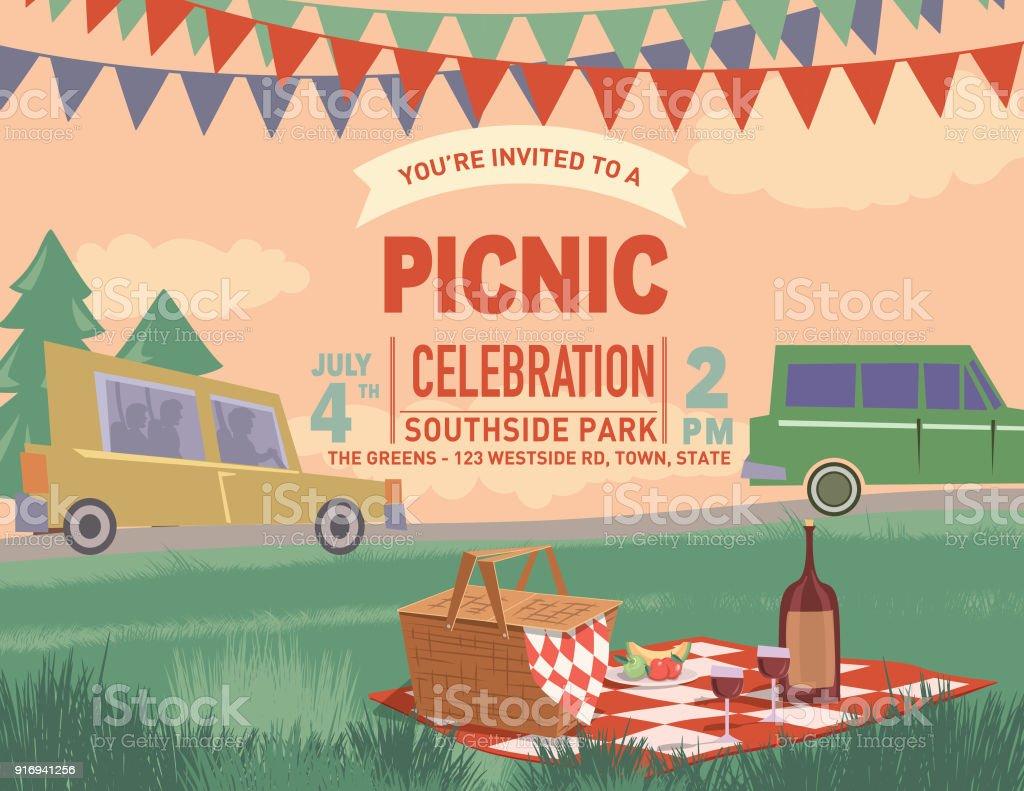 Retro-Outdoor Picknick Cartoon mit Natur und Bäume – Vektorgrafik