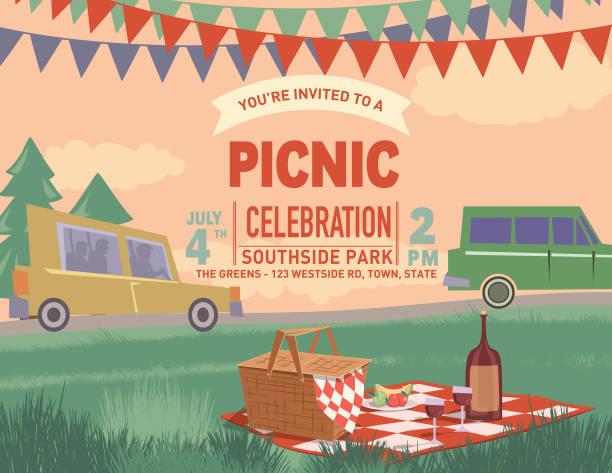 ilustraciones, imágenes clip art, dibujos animados e iconos de stock de dibujos animados de picnic retro al aire libre con la naturaleza y árboles - picnic