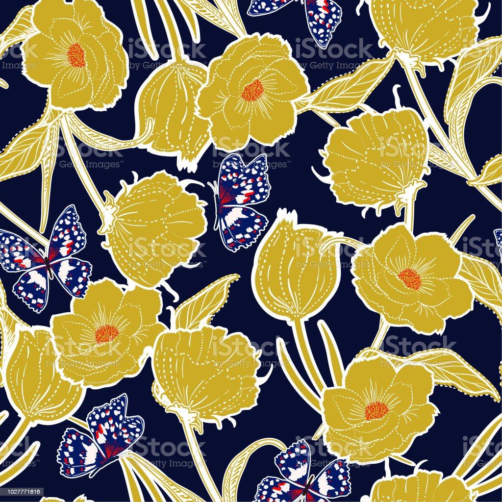 Esquema retro graden dibujado en el tablero a mano botánicas flores amarillas con mariposas, diseño de moda, tela, papel pintado y todas las impresiones - ilustración de arte vectorial