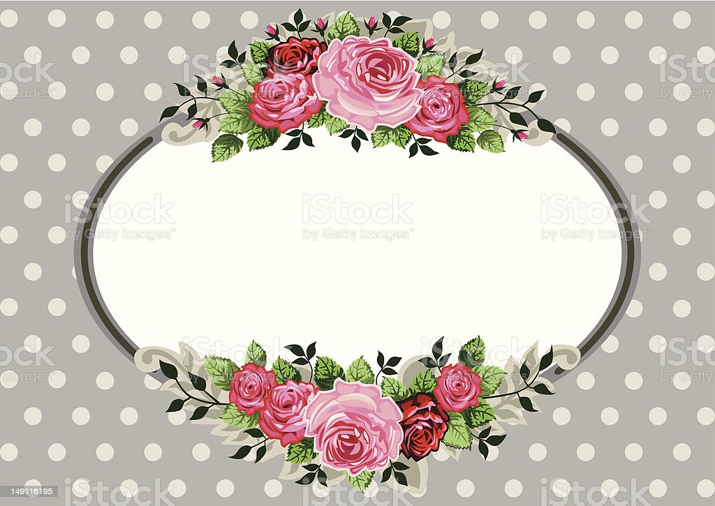 Retro oval roses vintage vector art illustration