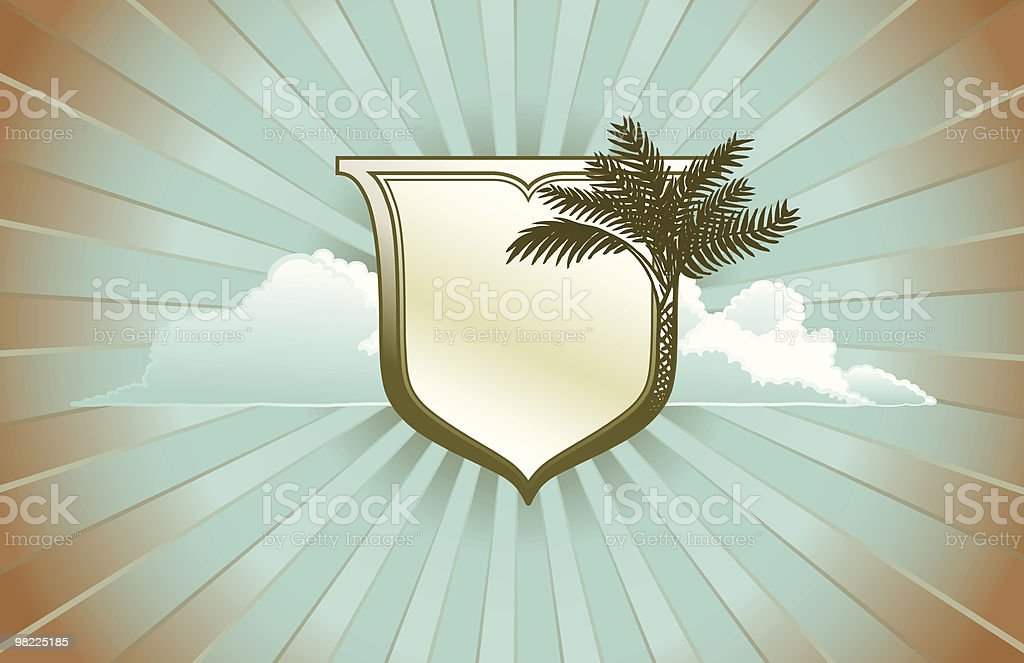 Retro Palm Shield royalty-free retro palm shield stock vector art & more images of back lit