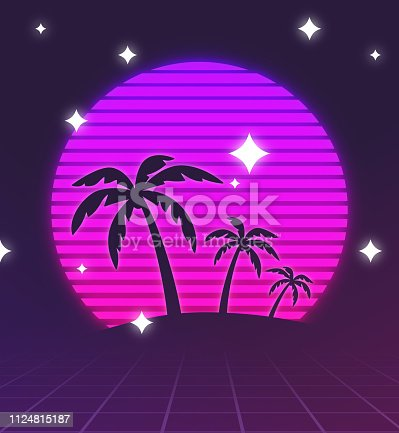 Retro tropical palm trees sunset illustration.