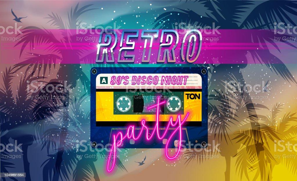 Ilustración De Fiesta Retro 80 S Banner Cubierta O