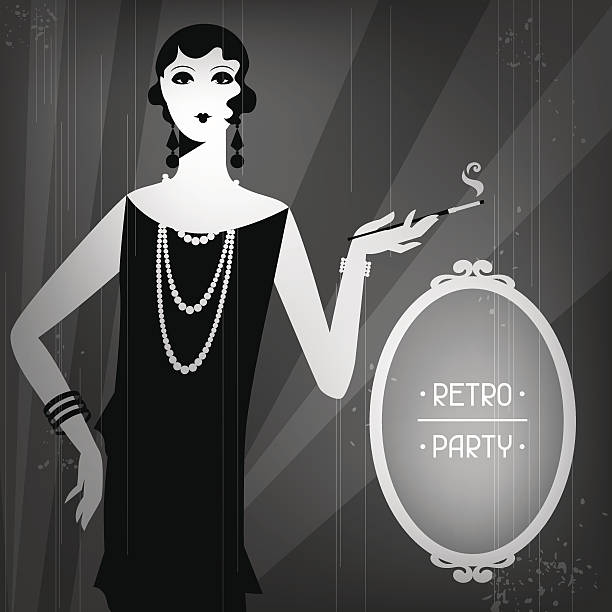 Retro party background with beautiful girl of 1920s style. Picture was made in eps 10 with transparency and meshes. sun shining through dresses stock illustrations