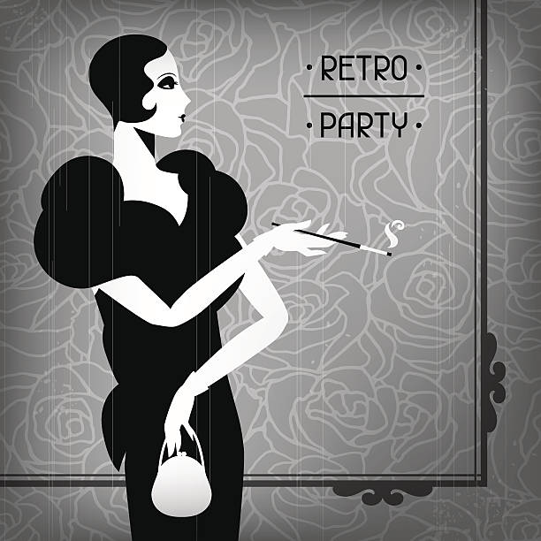 retro party background with beautiful girl of 1920s style. - 1920s style stock illustrations, clip art, cartoons, & icons