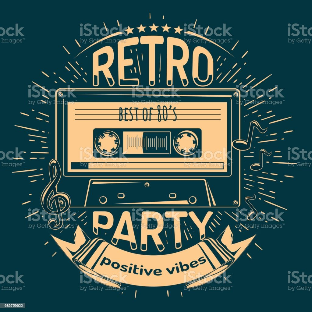 Retro party emblem retro party emblem - stockowe grafiki wektorowe i więcej obrazów dj royalty-free