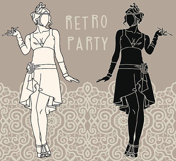 Retro party invitation design. Flapper girls set vector art illustration