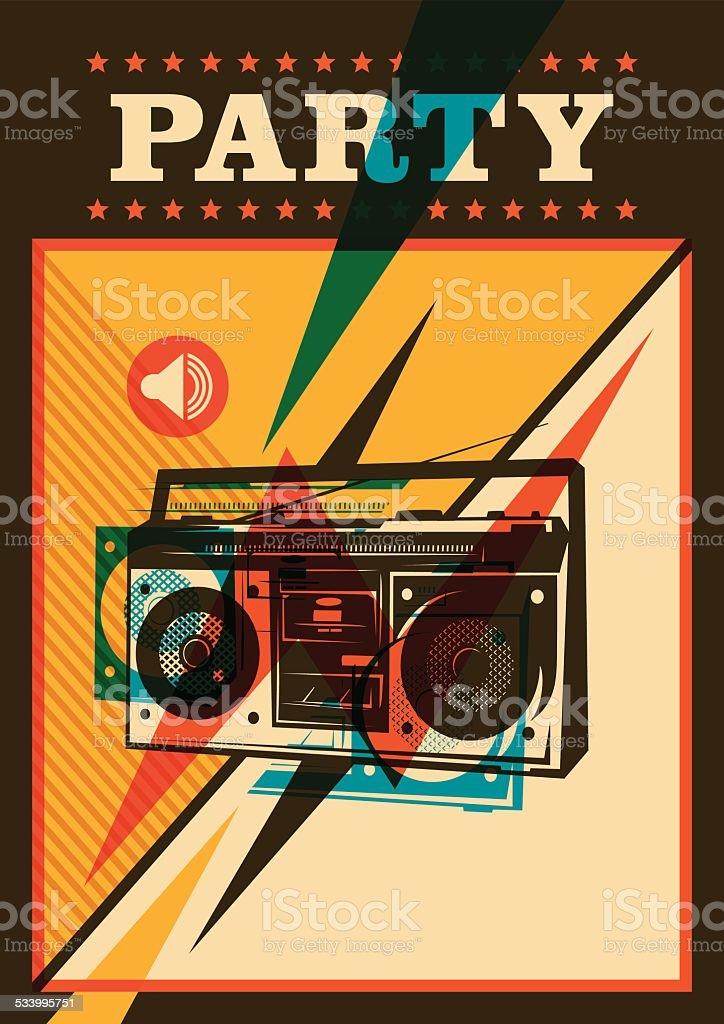 Retro party poster design. vector art illustration